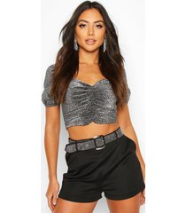 glitter ruched puff sleeve top, silver
