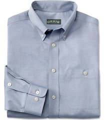 pure cotton wrinkle-free pinpoint oxford long-sleeved shirt, blue, large