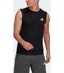 camiseta adidas regata esportiva aeroready designed to move 3-stripes preto