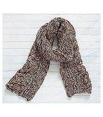 100% alpaca scarf, 'chocolate river' (peru)