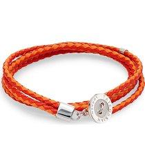 tateossian men's two-tone leather button wrap bracelet - orange/red