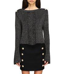 balmain sweater balmain lurex sweater with jewel buttons