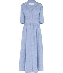 by any other name boan shirred midi dress - blue