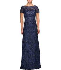 women's la femme sequin embroidered column dress, size 8 - blue