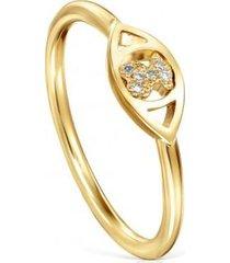 anillo good vibes ojo de oro y diamantes dorado tous