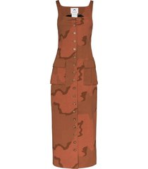 marine serre regenerated military tailored dress - brown