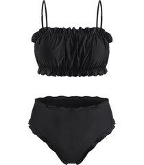 plus size ruffle plain cami bikini swimwear