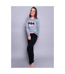 pijama longo 4 estações feminino inverno adulto rosa e cinza bat