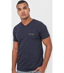 camiseta calvin klein lettering azul-marinho