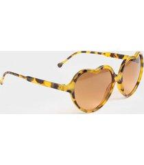 kaytie heart frame sunglasses - tortoise