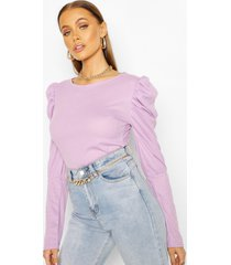 ribbed puff sleeve top, lilac