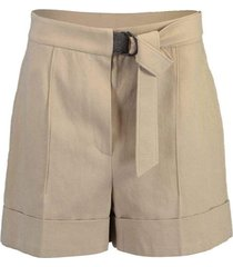 belted high-rise drill shorts
