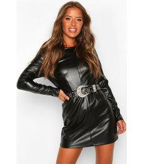 petite leather look shift dress, black