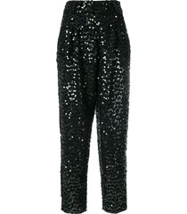 balmain sequin embellished trousers - black
