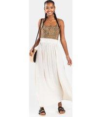 astrid satin maxi skirt - beige