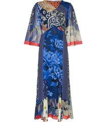 etro silk patchwork midi dress - blue