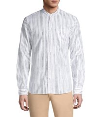john varvatos men's star usa regular-fit banded collar shirt - white - size l