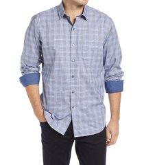 men's bugatchi classic fit plaid button-up shirt, size small - grey