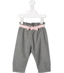 il gufo belted straight-leg trousers - grey
