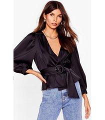 womens bridge the wrap belted satin blouse - black