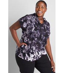 lane bryant women's livi french terry short-sleeve hoodie 26/28 black tie dye