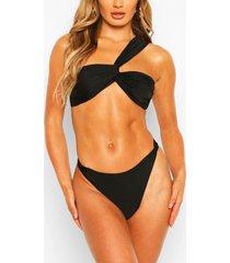 gedraaide bandeau bikini met eén blote schouder, zwart