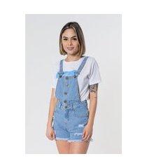 jardineira / macacão jeans aero jeans destroyed azul