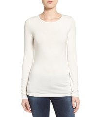 women's halogen long sleeve modal blend tee, size medium - ivory