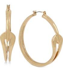 """robert lee morris soho gold-tone medium sculptural curve hoop earrings, 1.8"""""""