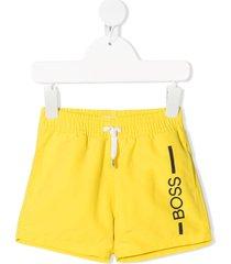 boss kidswear logo-print swim shorts - yellow