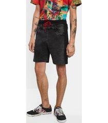 short trousers plush denim - black - 38
