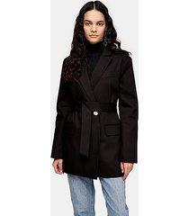 black oversized belted blazer - black