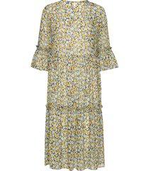 pzvilja dress knälång klänning gul pulz jeans