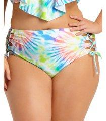 california waves plus size tie-dye high-waist bikini bottoms, created for macy's women's swimsuit