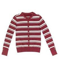casaco feminino listrado em tricô fio tinto com elastano
