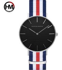 reloj de correa de nylon de los hombres de la cara-rosa