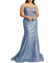 mac duggal women's strapless glitter mermaid gown - raspberry - size 22 w