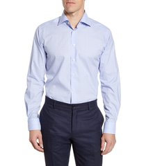 men's big & tall eton contemporary fit plaid dress shirt, size 18.5 - purple