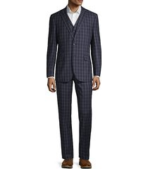 3-piece modern-fit windowpane wool suit