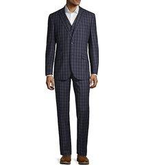 3-piece modern-fit windowpane wool suit
