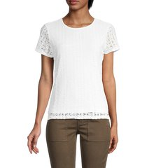 calvin klein women's lace short-sleeve top - white - size s