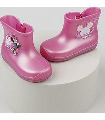 bota galocha infantil grendene mickey e minnie com velcro rosa