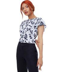 camiseta mujer a rayas con flores color azul, talla xs