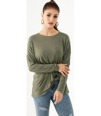yoins camiseta de punto de manga larga trenzada verde