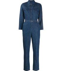 a.p.c. denim belted jumpsuit - blue