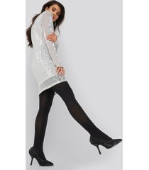 na-kd party sequin round neck mini dress - silver