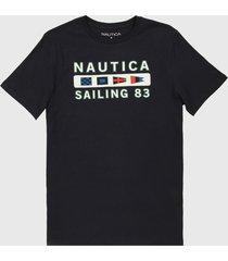 camiseta azul oscuro-blanco nautica