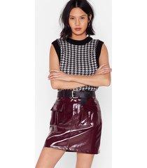 i'm totally vinyl high-waisted mini skirt