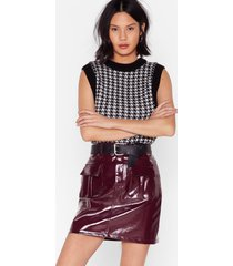 womens i'm totally vinyl high-waisted mini skirt - burgundy