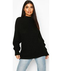 petite chunky high neck oversize sweater, black